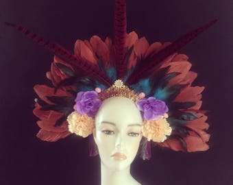 Statement feather boho headdress headpiece flower crown flower crown