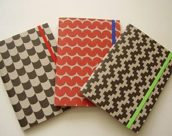 Set of 3 Colorful Geometric Journals Notebooks with Lined Paper / Recycled / Scrapbook