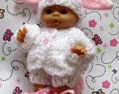 """knitted dolls clothes Rabbit Set - for a 5"""" Chubby Berenguer Baby Immediate dispatch"""