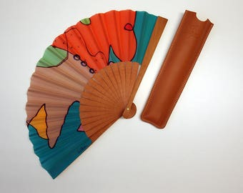 Handpainted Silk hand fan- Wedding hand fan-Abanico- Giveaways-Bridesmaids- Spanish hand fan-Tan-Red-Blue 14 x 7.5 inches (35 cm x 19 cm)