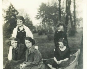 vintage photo 1918 Young Women in a Canoe on Dry Land