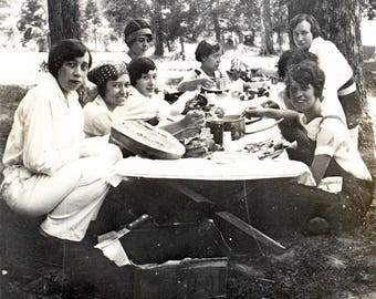 Vintage Photo 1930s Women sit around Picnic Table Eating Watermelon