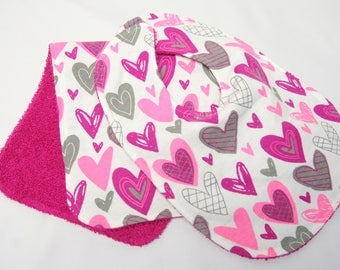 Baby Girl Bib and Burp Cloth, Baby Shower Gift, Welcome Baby Gift, New Mom Gift:  Funky Pink, Magenta and Gray Hearts on White