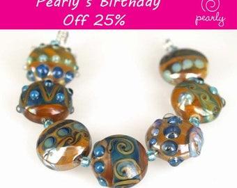 Pearly Blue Metallic Stones Lampwork beads(6) SRA