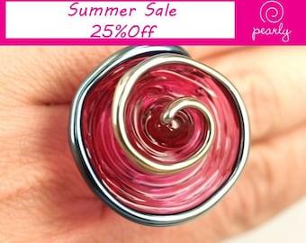 Pearly Pink Spiral Ring - Lampwork Jewelry - Lampwork Ring - Glass Bead Jewelry - Glass Bead Ring - Modern Jewelry - Spiral Jewelry