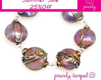 Pink, purple and gold stringers lentil Handmade lampwork glass beads sra set of 6 made by pearly karpel MTO Lampwork Beads  glass beads