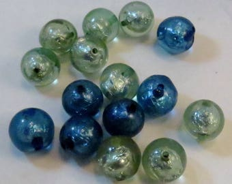 Silver Foil Mint and Capri Blue Resin Rounds, 16mm, 10 Pieces, Wholesale Beads
