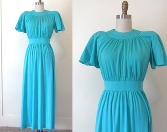 Vintage 70's Blue Maxi Dress Sz M. 1970s  Empire Waist Boho Dress Flutter Sleeves