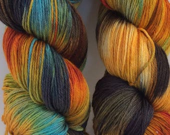 "Luxurious sock yarn 70/30 wool silk blend - ""Forest Floor"" - in stock ready to ship"