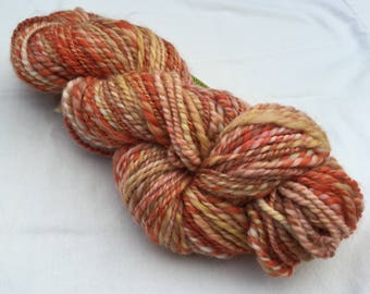 sweet potato pumpkin handspun wool yarn, local blend, 138 yards