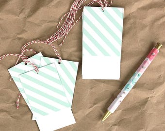 Mint Stripe Gift Tags