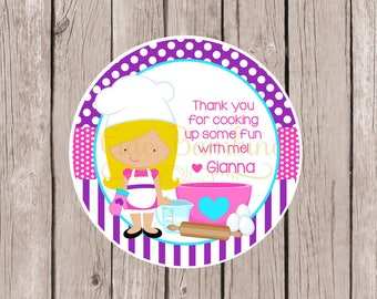 Little Chef Birthday Party Favor Tags or Stickers / Choose Hair and Skin Color / Cooking Party, Baking Party, Pizza Party / Set of 12