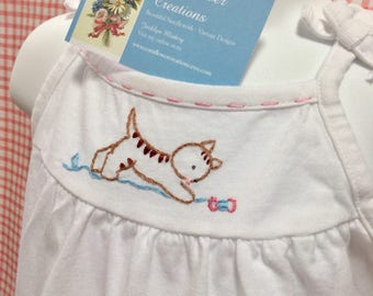 Mending Day Kitty - Hand Embroidered Girls Romper