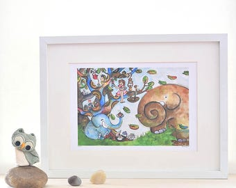 elephant nursery art, animal party, boy and girl print, whimsical wall decor, gift for kids, limited edition prints, A3 frame, beilexian
