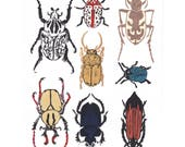 Beetles - Hand-printed Linocut Print of a Collection of Beetles on Various Japanese Washi Papers - Natural History Collection