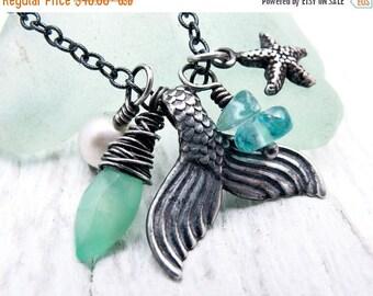 mermaid necklace, mermaid tail necklace, mermaid jewelry, nautical charm necklace, beach wedding necklace, chrysoprase, starfish, pearl,