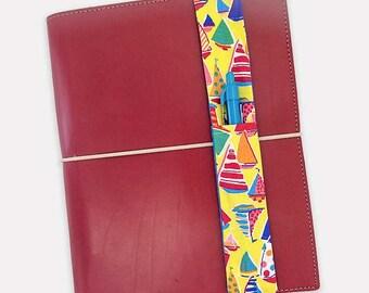 Sailboat Theme Pretty Pen Pocket Planner Band Pen Holder