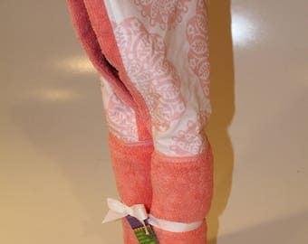 Pink medallion on light salmon hooded towel