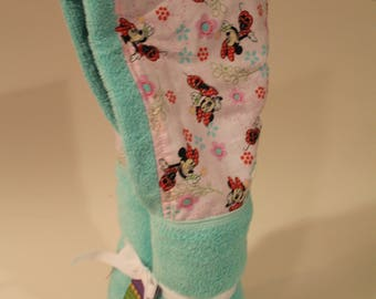 Teal and pink Minnie on a Tiffany hooded towel