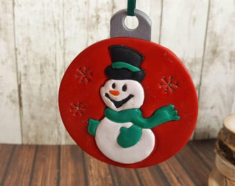 Snowman Ornament - Holiday Decoration - Christmas Ornament - Festive Decor - Frosty Snowman with Hat - Snowman with Scarf Ornament - Red