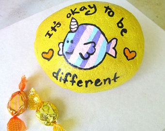Be Different Painted Rock, Doorstop, Paperweight, Clown Fish, Hand Painted Rock, Book End, North Carolina Art