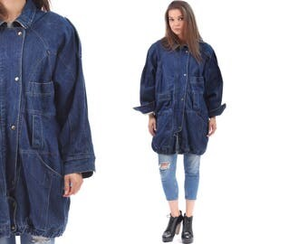Shearling Denim COAT . 80s Jean Blue Oversize Longline Grunge 1980s Vintage Hipster MultiPocket Oversized Retro 1980s Hipster Coat . Large