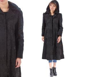 Persian Lamb FUR COAT HOODED 60s Black Swakara Karakul Midi Coat Retro Bohemian Winter Curly Real Fur 1960s Outerwear Medium