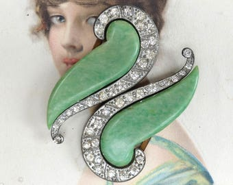 Antique Belt Buckle Two Part Accessory Green Celluloid Rhinestones