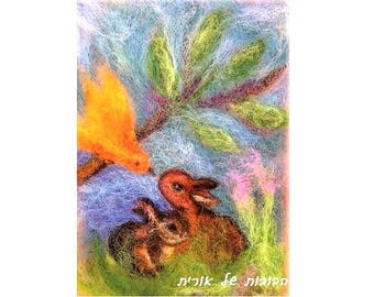 Bunnies and bird conversation-blessing card for children-print reproduction of my original needle felted wool painting tapestry