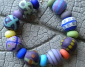 ETCHED Opaque Rounds Lampwork Beads by Cherie Sra R114 Flameworked Glass Beads Lampwork Purple Mint Blue Plum Orange Turquoise Round
