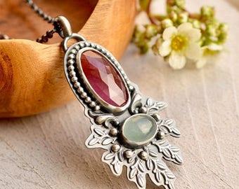 Summer Sale Pink Sapphire Necklace, Aquamarine Necklace, Botanical Metalwork, Modern Boho Style, Boho Chic, Artisan Jewelry, Pink Stone Neck