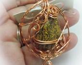Script Stone in Wire Sculpted Copper Pendant