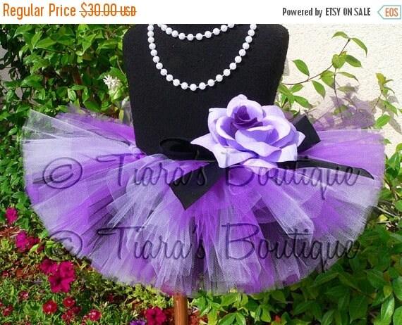 SUMMER SALE 20% OFF Posh Punk in Purple - Sewn 6'' Infant Todler Tutu - Purple Lavender Black - sizes newborn to 24 months
