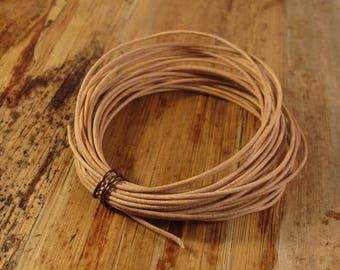 Natural Tan Leather, 13 Feet of Round Leather, 1mm, Great for Wrap Bracelets and Jewelry Making, Jewelry Supplies