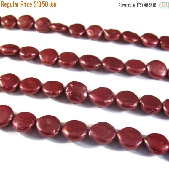 Summer SALEabration - Red Freshwater Pearls, Beautiful Coin Pearl Beads, 8.5mm - 9.5mm, 7 Inch Strand, 21 Pearls, Round, Flat Pearl Beads (P