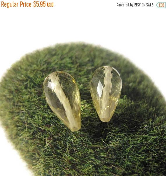 Summer SALEabration - Two Lemon Quartz Beads, Long Drilled Matched Pair, Faceted Briolettes, 8x5-9x6mm, AWESOME Natural Gemstones, Jewelry S