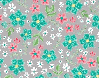 Flora and Fawn by Amanda Herrin for Riley Blake, Main Floral on Grey, 1 yard