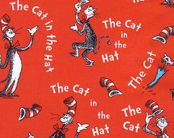 Dr Seuss,  Vintage style Cat in the Hat on Red by Robert Kaufman, yard