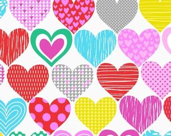 BIG LOVE by Studio E - Muti colored Hearts on white, valentine fabric, heart fabric, yard