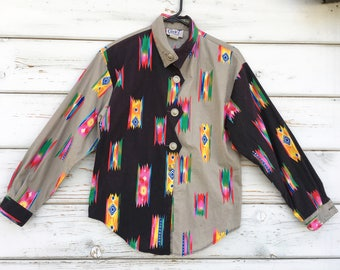 Vintage 70s-80s county western blouse,shirt,colorful,cowgirl,unique,USA made,long sleeve,boho,hipster,west,cowboys