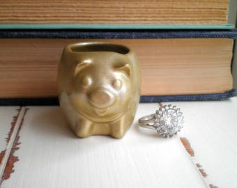 Golden Pig Ring Dish / Jewelry Holder - Metallic Gold Upcycled Vintage Pig Figurine / Tiny Piggy Planter - Trinket / Jewelry Storage Gift