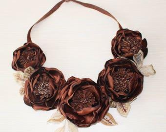 SALE-Brown floral necklace-fiber neck piece from flowers-unique floral accessory