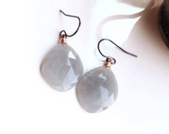 Rose Cut Grey Moonstone Mixed Metal Earring Dangles - 14k Rose Gold