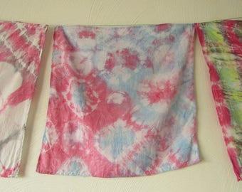 Shibori, Viscose Rayon, Pink, White and Blue Scarf