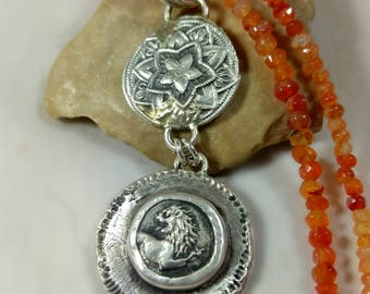 Ancient Greek Coin Pendant, Lion coin and carnelian strand interchangable necklace, Ancient Coin Jewelry