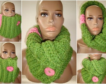 Cowl Scarf Crocheted - Neckwarmer - Scarf- Cowl- AKA - Sorority Colors - Multi Styled Scarf