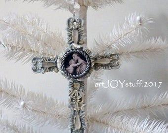 Madonna and Christ child - altered cross - vintage bits - NO92