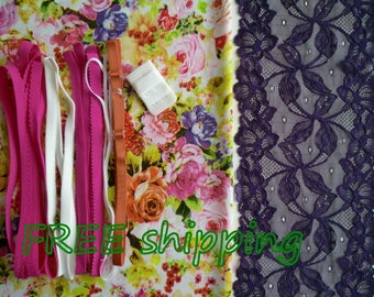 FREE Ship DIY Fabric + Notions Summer Bouquet & Purple Relief for 1 BRA + Panty by Merckwaerdigh