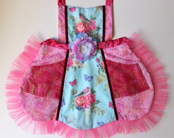 Sweet Birdie Apron,  toddler apron, girls apron