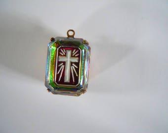 Vintage Cross Vitrail Intaglio Pendant
